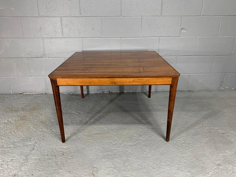 Square Danish Modern Mid-Century Rosewood Coffee Table For Sale 1