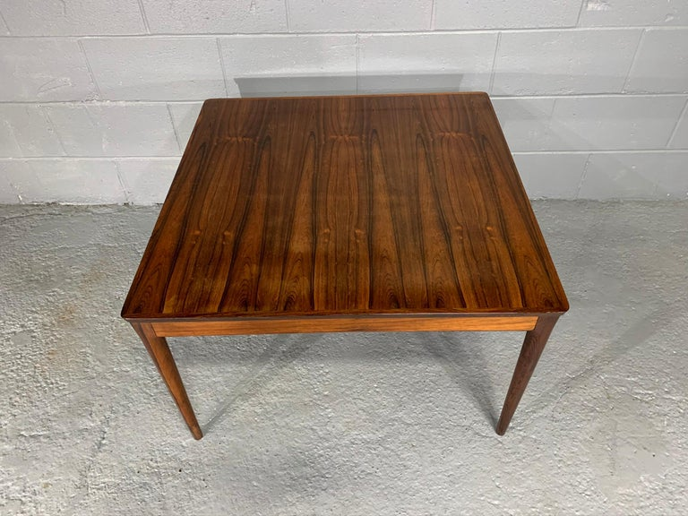 Square Danish Modern Mid-Century Rosewood Coffee Table For Sale 2