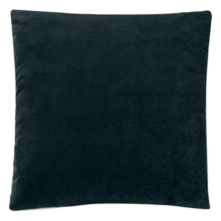 Molteni&C Square Decorative Cushion Petroleum Blue Velvet For Sale