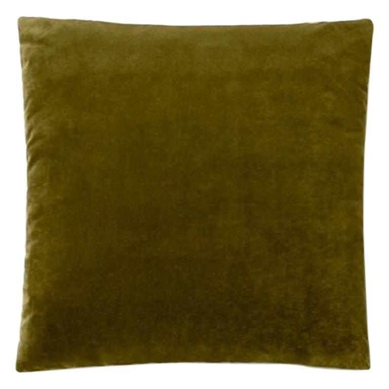 Molteni&C Square Decorative Cushion Olive Velvet For Sale