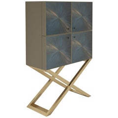 Square Design Living Room Cabinet with Brushed Brass