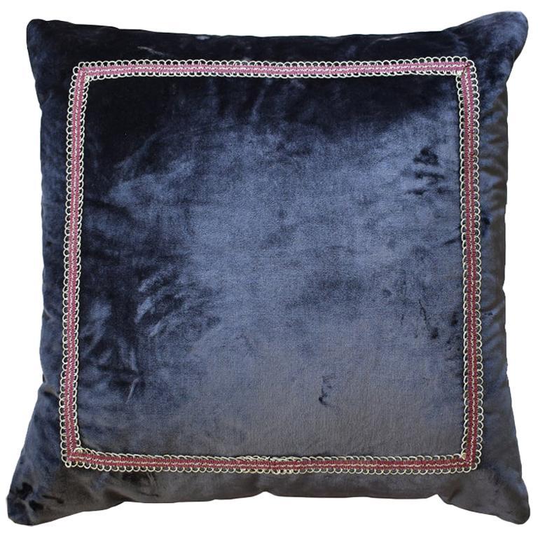 Square Designer Eggplant Velvet Down Filled Pillow