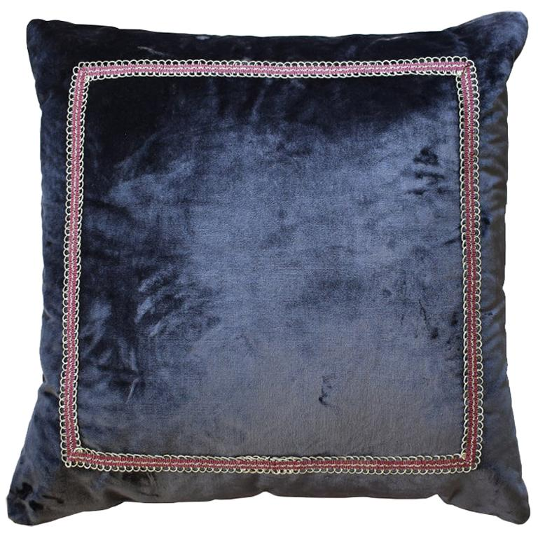 Square Designer Eggplant Velvet Down Filled Pillow For Sale