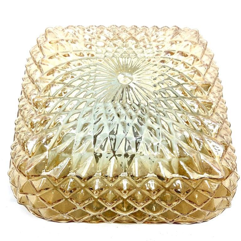 Mid-Century Modern Square Diamond Shaped Glass Flush Mount Ceiling Light Honsel Leuchten, Germany For Sale