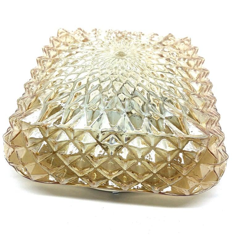 Square Diamond Shaped Glass Flush Mount Ceiling Light Honsel Leuchten, Germany In Good Condition For Sale In Nürnberg, DE