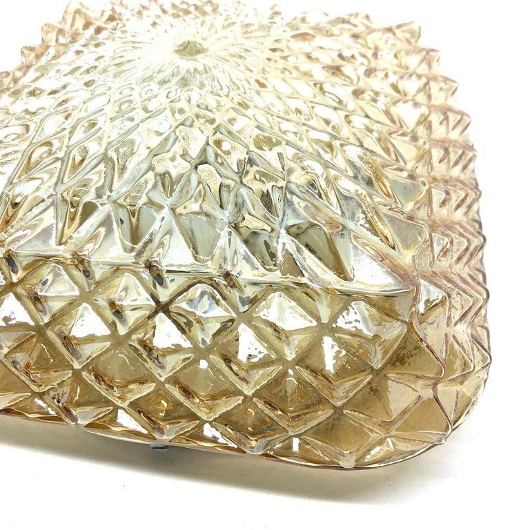 Late 20th Century Square Diamond Shaped Glass Flush Mount Ceiling Light Honsel Leuchten, Germany For Sale