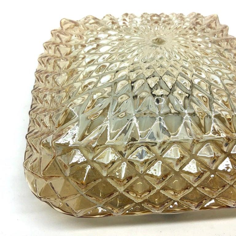 Metal Square Diamond Shaped Glass Flush Mount Ceiling Light Honsel Leuchten, Germany For Sale