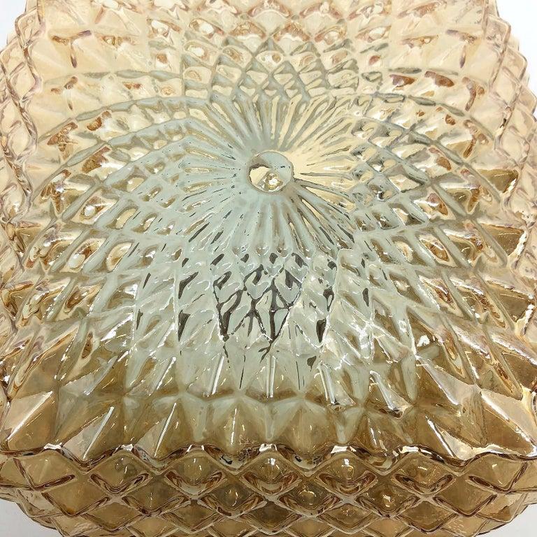Square Diamond Shaped Glass Flush Mount Ceiling Light Honsel Leuchten, Germany For Sale 1