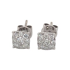 Square Diamond Stud Earrings