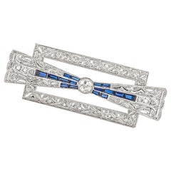 Square Diamonds and Sapphire Brooch