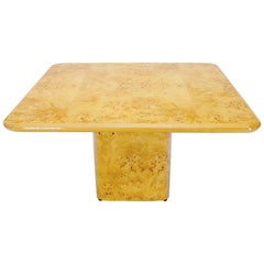 Square Dining Conference Table Wrapped in Burl Wood by Habitat