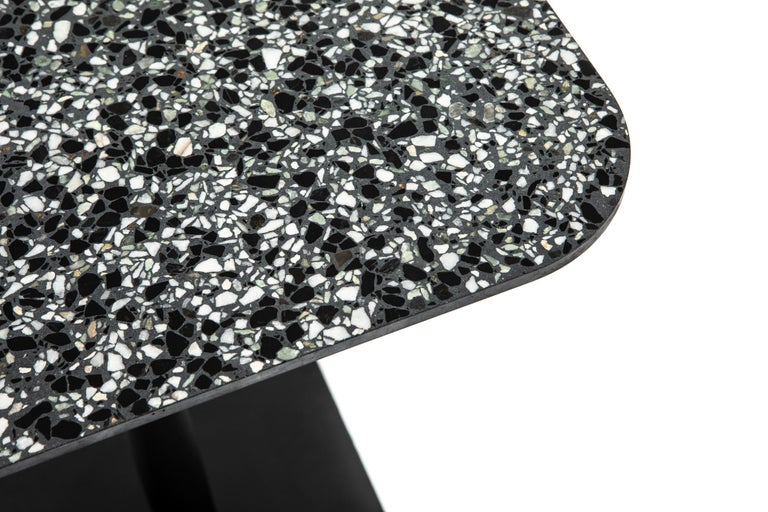 Industrial Square Dining Table 'i' in Black Terrazzo For Sale