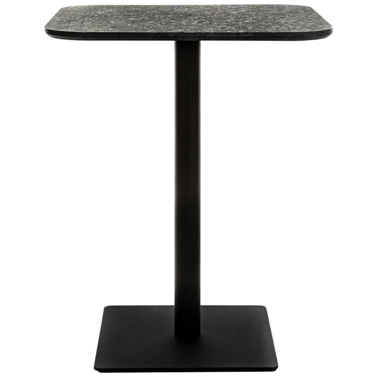 Square Dining Table 'i' in Black Terrazzo For Sale