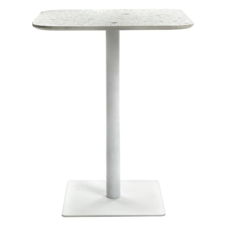 Square Dining Table 'I' in White Terrazzo For Sale