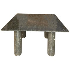 Square Dining Table in Silver and Gray Labradorite Stone