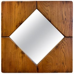 Square Elm Wood Mirror, 1970