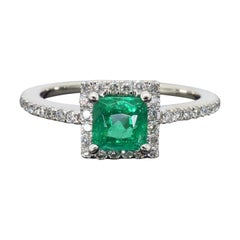 Square Emerald and Diamond Halo Ring