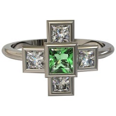 Square Emerald and Princess cut Diamonds in Platinum Ring