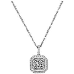 18 Karat White Gold Square Emerald Cluster Octagonal Diamond Pendant Necklace