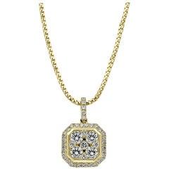 18 Karat Rose Gold Square Emerald Cluster Octagonal Diamond Pendant Necklace