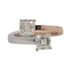 Square Emerald Cut By Pass Ring in Platinum & 18k Gold, 1.82ct GIA Certified