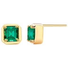 Square Emerald Cut Colombia Emerald Yellow Gold Stud Earrings