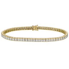 Square Emerald-Cut Diamond Line Bracelet '~6 Carat'