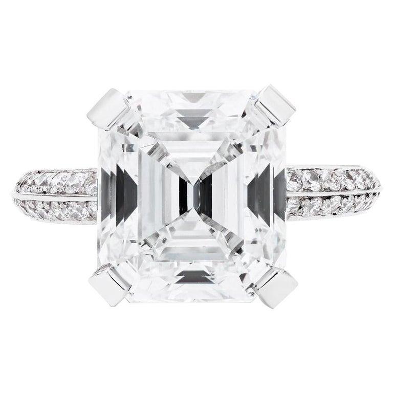 Square emerald-cut diamond and platinum ring, 2018