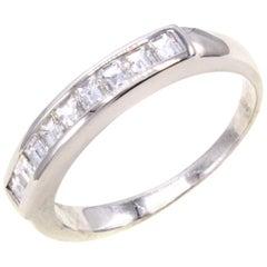 Square Emerald Cut Diamond Platinum Eternity Band