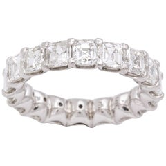 Square Emerald Cut Diamond Platinum Eternity Band Ring