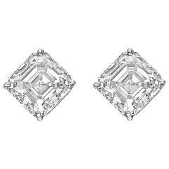 Square Emerald-Cut Diamond Stud Earrings '6.07 Carat'