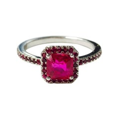 Square Emerald Cut Ruby Ring in 18k White Gold