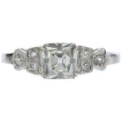 Square Emerald Diamond Engagement Ring, circa 1920s