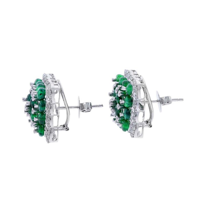 Women's or Men's Square Emerald Earrings with Diamonds, 18 Karat White Gold For Sale