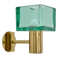 Pair of Square Emerald Seguso Sconces