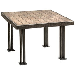 Square End Table Made of Forged Bronze Tiles and Forged Steel Legs