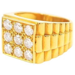 Square Faced 22 Karat Yellow Gold Men's Ring with Diamonds