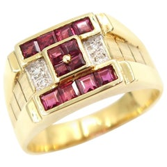 Square-Faced Rubies and Diamond 18 Karat Yellow Gold Signet Men's Ring