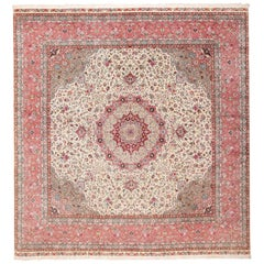 Square Floral Silk and Wool Vintage Tabriz Persian Rug. Size: 13 ft x 13 ft 8 in