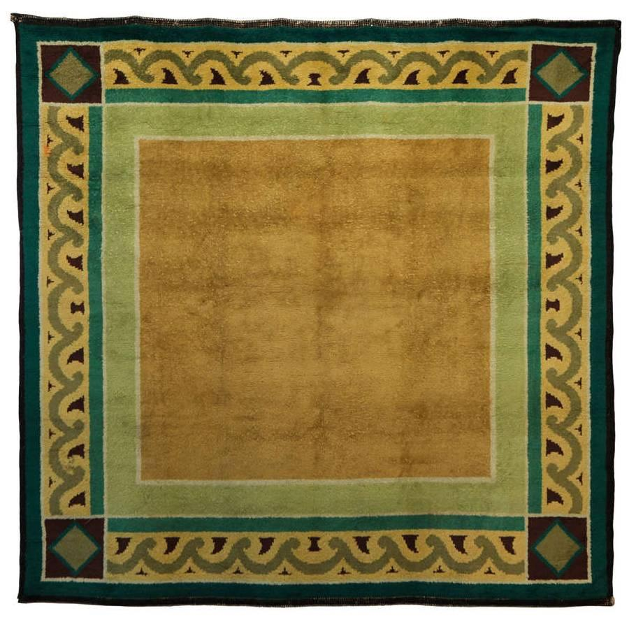 Square French Art Deco Wool Rug, 1930s