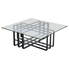 Square Geometric Modern Sculptural Coffee Table Black Frame Smoked Glass Top