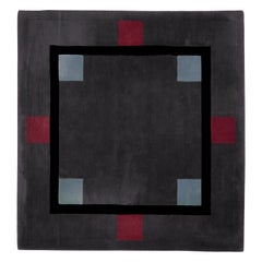 Square Geometric Wool Carpet by Ulf Moritz, Germany, 1990