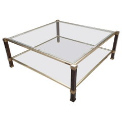 Square Gilt 2-Tiers Coffee Table with a Burr Walnut Color by Pierre Vandel 1970s
