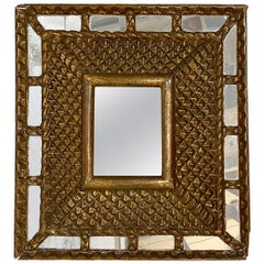 Square Gilt Wood Sunburst Mirror