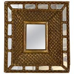 Antique Square Gilt Wood Mirror