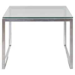 Square Glass and Chrome Coffee-Table, 1960's, Italy