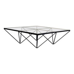 """Square Glass and Iron """"Alanda"""" Coffee Table in the style of Paolo Piva, 1981"""