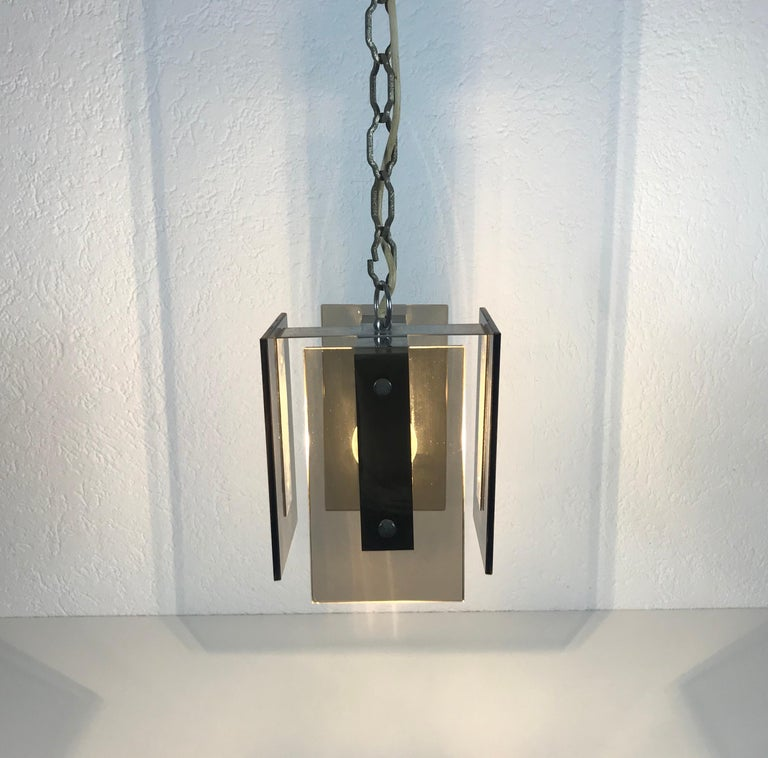 Square Glass Ceiling Light by Veca, 1970s, Italy For Sale 5