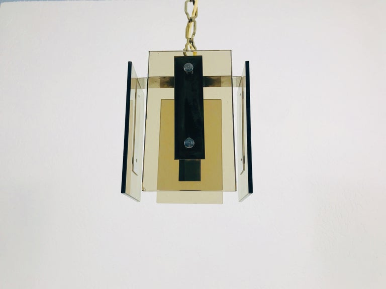 Mid-Century Modern Square Glass Ceiling Light by Veca, 1970s, Italy For Sale