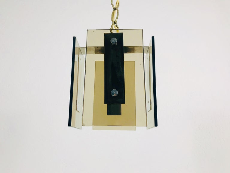 German Square Glass Ceiling Light by Veca, 1970s, Italy For Sale